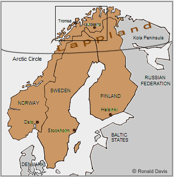 Lappland, the ancestral home of the Saami, or Lapps, comprises northern Norway, Sweden, Finland, and the Kola Peninsula of the Russian Federation.
