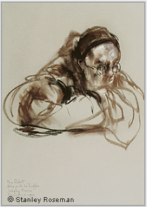 "Drawing by Stanley Roseman, ""Père Robert at Vigils,"" 1982, Abbey of La Trappe, France, chalks on paper, Graphische Sammlung Albertina, Vienna. © Stanley Roseman."