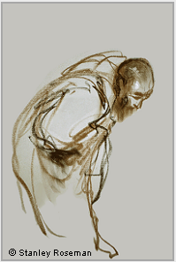 "Drawing by Stanley Roseman, ""A Trappist Monk Bowing in Prayer,"" 1982, Abbey of La Trappe, France, chalks on paper, Collection Abbey of La Trappe. © Stanley Roseman"