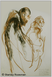 "Drawing by Stanley Roseman, ""Two Trappist Monks at Vigils,"" 1982, Abbey of La Trappe, France, chalks on paper, Private collection, Michigan. © Stanley Roseman."