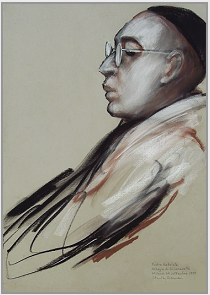 "Drawing by Stanley Roseman, ""Portrait of Padre Gabriele,"" 1998, Abbey of Chiaravalle, Milanese, Italy, chalks on paper, Private Collection. © Stanley Roseman"