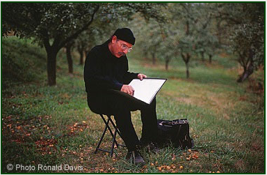Stanley Roseman drawing in an orchard in France, 2009. © Photo by Ronald Davis