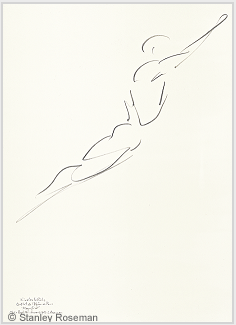 "Drawing by Stanley Roseman of Paris Opéra star dancer Nicolas Le Riche in ""Magnificat,"" 1995,"
