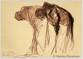 "Drawing by Stanley Roseman, ""Two Monks Bowing in Prayer,"" Abbaye de Solesmes, France, 1979, chalks on paper, National Gallery of Art, Washington, D.C. © Stanley Roseman"