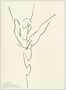 Drawing by Stanley Roseman of star dancer Wilfrid Romoli, 1993, Paris Opéra Ballet,