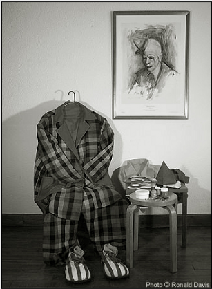 Photograph, taken in Roseman's studio, showing one of Frosty's clown costumes and assorted makeup that the celebrated clown gave to the artist as a token of their friendship. Photo © Ronald Davis