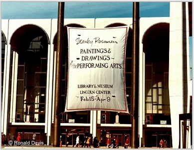 "Lincoln Center Plaza with the banner announcing the exhibition ""Stanley Roseman - The Performing Arts in America"" at the Library and Museum for the Performing Arts, Lincoln Center, New York City, 1977. © Stanley Roseman Ronald Davis"