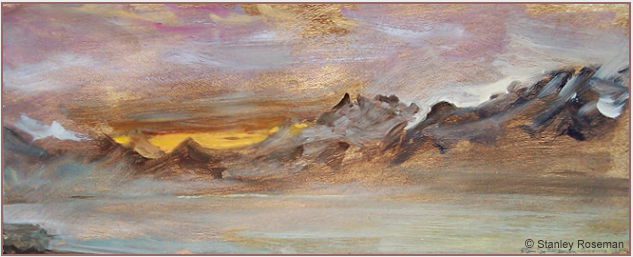 "Landscape by Stanley Roseman, ""December Morning - View from Chardonne Overlooking Lake Geneva,"" 1987, Musée des Beaux-Arts, Rouen. © Stanley Roseman"