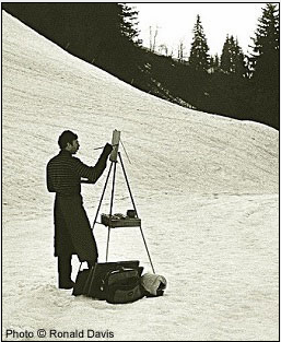 Stanley Roseman painting at his easel in an Alpine pasture above Lake Geneva, spring 1988. Photo © Ronald Davis.