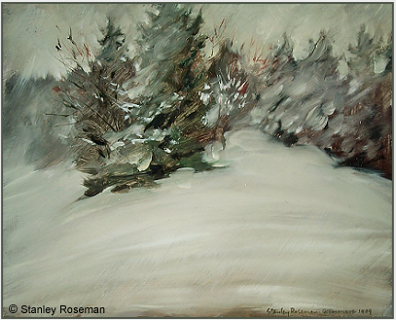 "Landscape by Stanley Roseman, ""Spring Snowstorm - On the Edge of an Alpine Wood,"" 1989, Private collection, Switzerland. © Stanley Roseman"