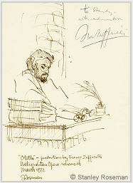 "Drawing by Stanley Roseman of James McCracken as Otello in Zeffirelli's production ""Otello,"" Metropolitan Opera, 1972. Autographed and inscribed, ""To Stanley, with admiration, Franco Zeffirelli."" Collection the artist. © Stanley Roseman"