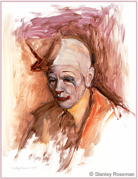 Painting by Stanley Roseman of Frosty Little, Director of Clowns, Ringling Bros. and Barnum & Bailey Circus, 1977, oil on Strathmore paper, Musée des Beaux-Arts, Bordeaux. © Stanley Roseman