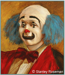 "Painting by Stanley Roseman of the circus clown Keith Crary (detail), 1973, as featured in ""The New York Times"" review entitled ""Spirit of the Clown."" © Stanley Roseman"