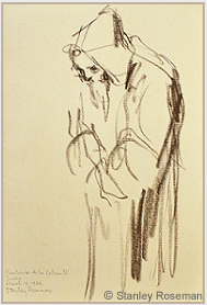 "Drawing by Stanley Roseman, ""A Carthusian Monk at Vigils,"" Chartreuse de la Valsainte, Switzerland, 1982, chalk on paper, Musée Ingres, Montauban. © Stanley Roseman"