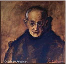 "Painting by Stanley Roseman, ""Dom Henry, Portrait of a Benedictine Monk,"" 1978, St. Augustine's Abbey, England, oil on canvas, Musée des Beaux-Arts, Rouen. Copyright © Stanley Roseman."