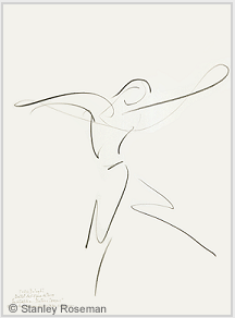 "Drawing by Stanley Roseman of Paris Opera star dancer Kader Belarbi, ""The Four Seasons,"" 1996, Uffizi Gallery, Florence. © Stanley Roseman"