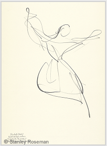 "Drawing by Stanley Roseman of star dancer Elisabeth Platel, 1996, Paris Opéra Ballet, ""Tchaikovsky Pas de Deux,"" Pencil on paper, Musée d'Art Moderne et Contemporain, Strasbourg. © Stanley Roseman"