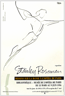 "Poster to the exhibition ""Stanley Roseman - Dessins sur la Danse à l'Opéra de Paris,"" presented by the Bibliothèque Nationale de France, 1996."