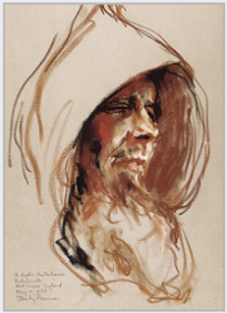 "Drawing by Stanley Roseman, ""Portrait of a Carthusian Monk in Prayer,'' 1984, St. Hugh's Charterhouse, England, chalks on paper, Teylers Museum, The Netherlands. © Stanley Roseman"