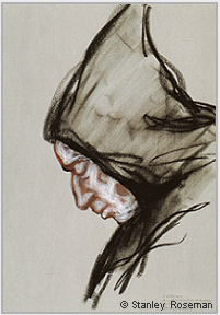 "Drawing by Stanley Roseman, ""Padre Valeriano, Portrait of a Trappist Monk in Prayer,"" 1998, San Pedro de Cardeña, Spain, Collection Victoria and Albert Museum, London. © Stanley Roseman"