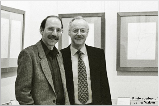 "Stanley Roseman and Ronald Davis at the exhibition ""Stanley Roseman - Dessins sur la Danse à l'Opéra de Paris,"" Bibliothèque Nationale de France - Bibliothèque-Musée de l'Opéra, 1996. Photo courtesy of James Watson"
