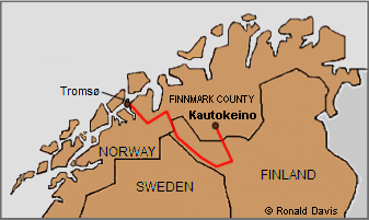 Detail of map showing the route in Lappland that Roseman and Davis traveled from the coastal town of Tromso to the rural township of Kautokeino, where Roseman painted portraits of the nomadic Saami people, 1976.